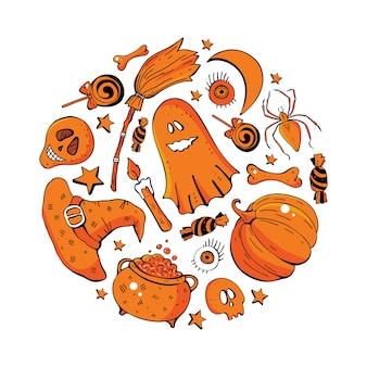 Personajes de monstruos divertidos dibujados a mano, ilustración de halloween