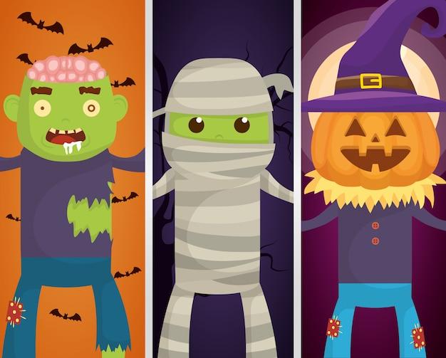Personajes de monstruos de halloween