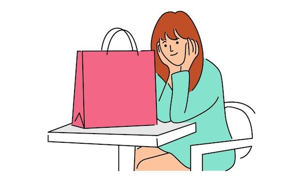 Personajes de mujer con cajas de regalo, bolsas de papel