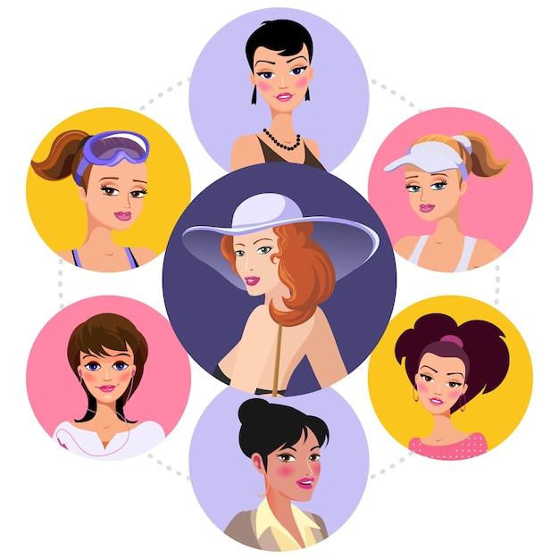 Personajes de mujer plana concepto redondo con diferentes peinados y damas con vestido de noche