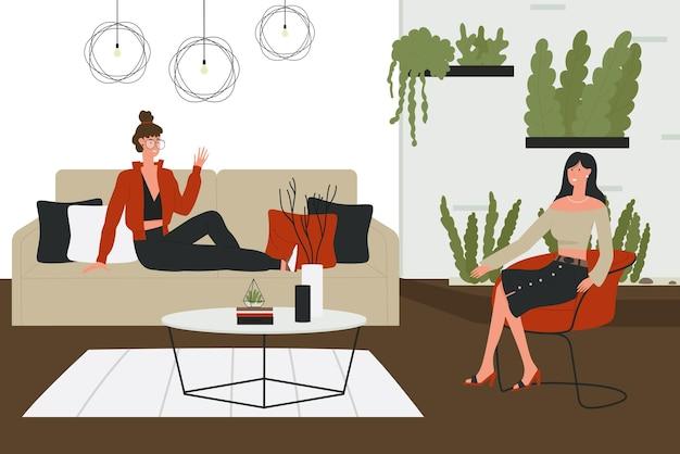 Personajes de mujer sentada en un sofá cama y en un sillón
