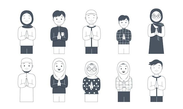 Personajes musulmanes con colección de poses de saludo.