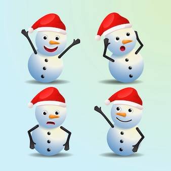 Personajes de navidad de dibujos animados de muñeco de nieve realistas vector gratuito