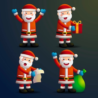 Personajes de navidad de dibujos animados realistas de santa