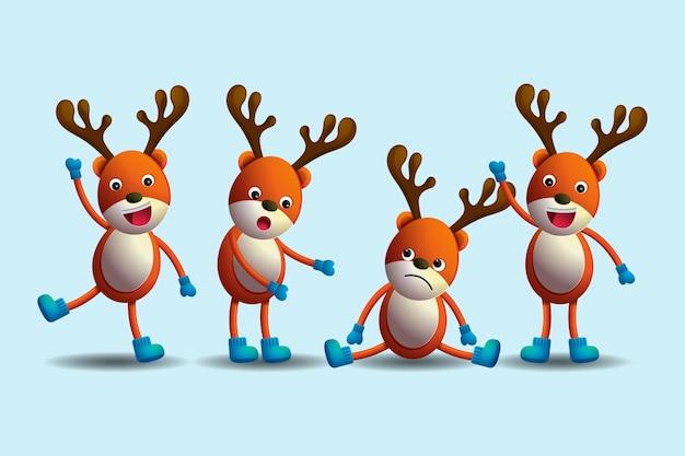 Personajes de navidad de dibujos animados de renos realistas