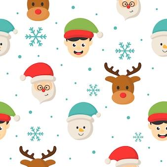 Personajes de navidad sin patrón sobre fondo blanco.