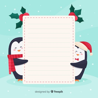 Personajes de navidad con una tarjeta blanca