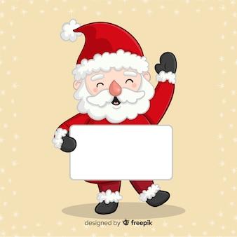 Personajes de navidad con tarjeta blanca