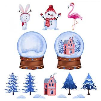 Personajes navideños y globo de cristal