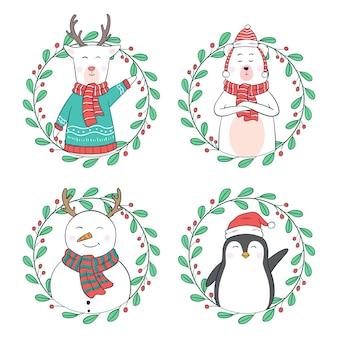 Personajes navideños kawaii con marco floral circular