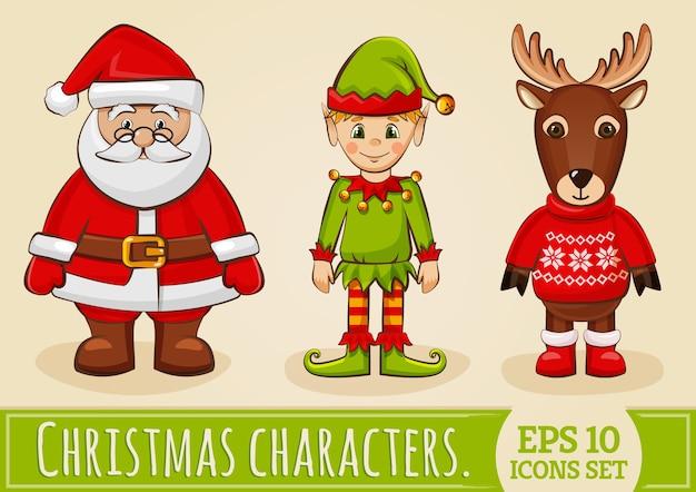 Personajes navideños papá noel, elfo y reno. conjunto de vectores.