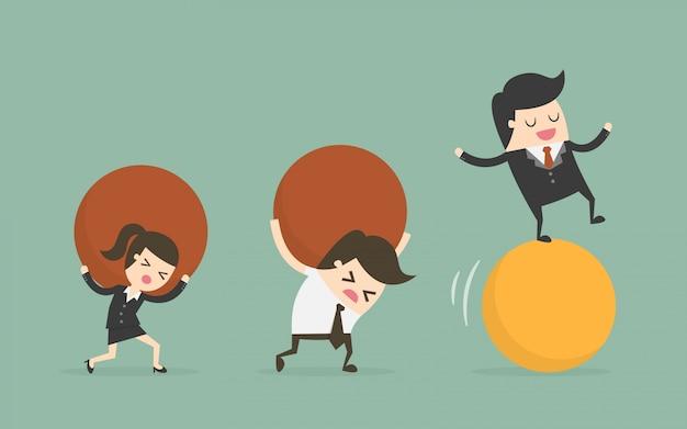Personajes de negocios con bolas