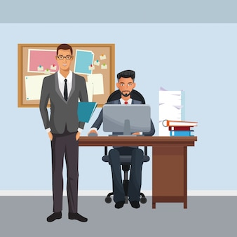 Personajes de negocios en la escena de la oficina