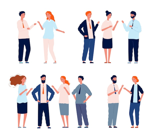Personajes de negocios hablando. conjunto de diálogo de personas de conversación de grupos de personas. ilustración de diálogo de conversación social, habla y comunicación.