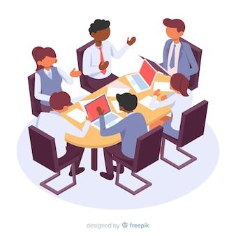 Personajes de negocios isométricos en una reunión