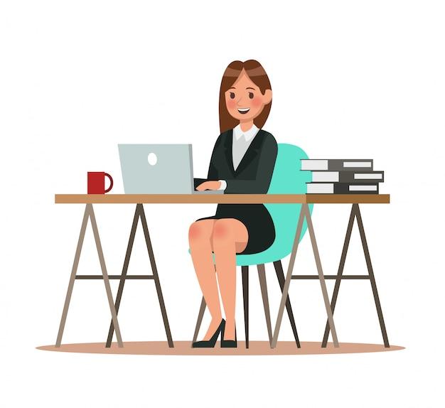 Personajes de negocios trabajando en oficina.
