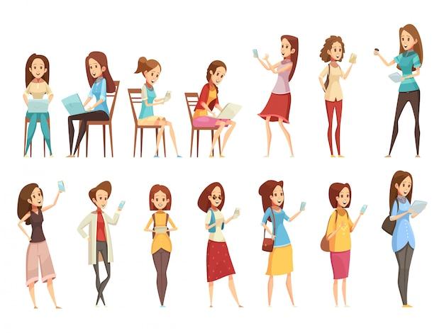 Los personajes de las niñas adolescentes con pancartas de iconos de dibujos animados retro de tableta y portátil de teléfono establecen ilustración vectorial aislado