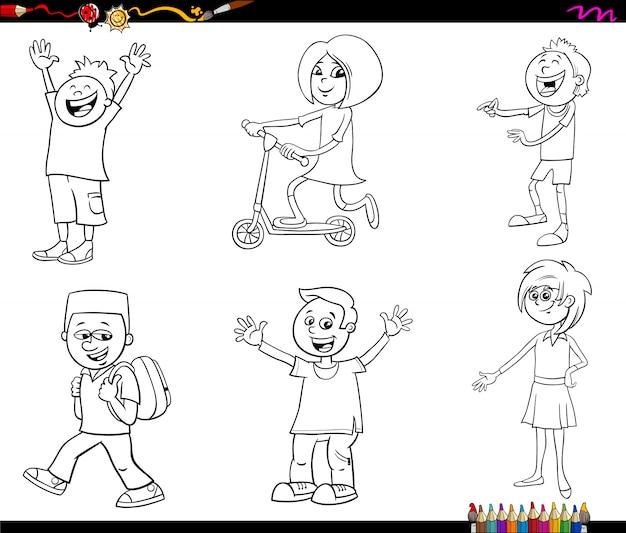 Personajes De Niños De Dibujos Animados Para Colorear Página Del Libro Vector Premium