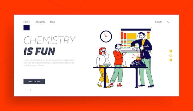 Personajes de niños en edad escolar en plantilla de página de destino de laboratorio.