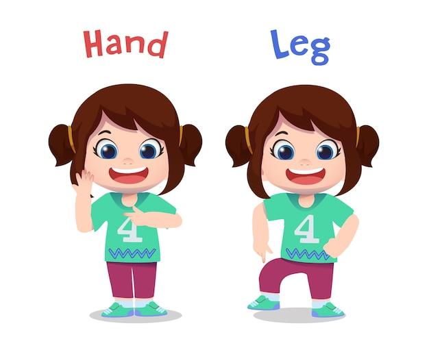 Personajes de niños lindos señalando la mano y la pierna