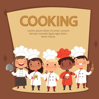 Los personajes de los niños preparan la comida. plantilla de banner de chefs de cocina para niños