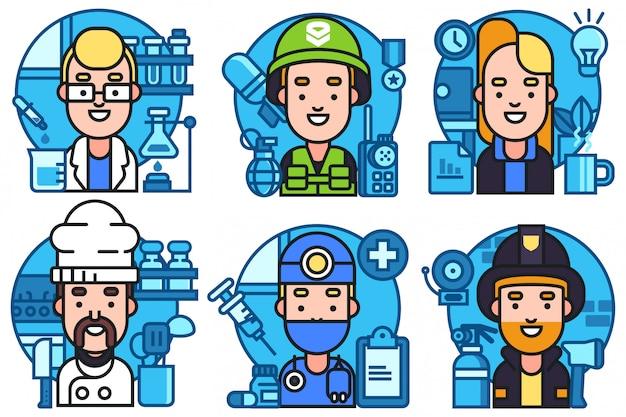 Personajes de ocupación de personas establecidos en estilo plano