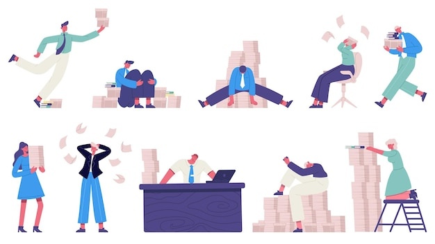 Personajes de oficina caóticos. gestión del tiempo de falla, conjunto de trabajadores de oficina estresantes desorganizados