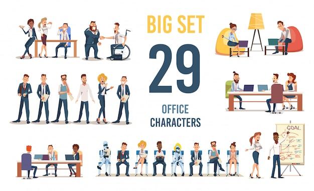 Personajes de oficina en situaciones de trabajo