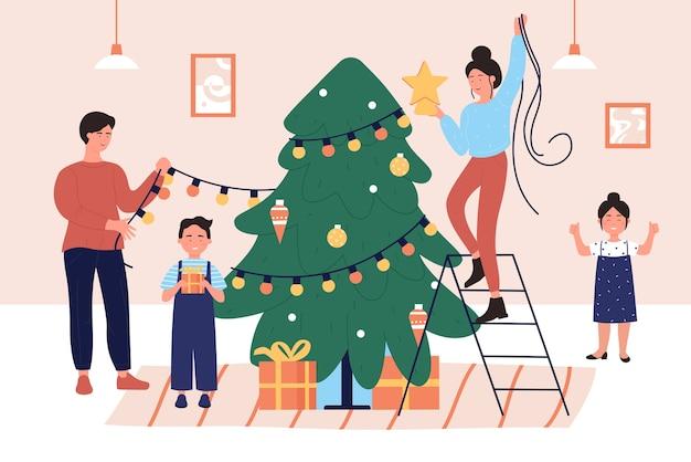 Personajes de padre e hijos decorando el árbol de navidad