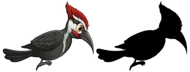 Personajes de pájaro carpintero y su silueta sobre fondo blanco.