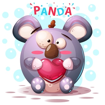 Personajes panda lindos - ilustración de dibujos animados