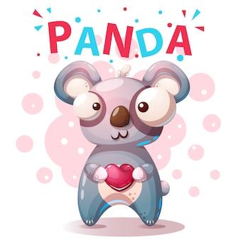 Personajes de panda lindos - ilustración de dibujos animados.