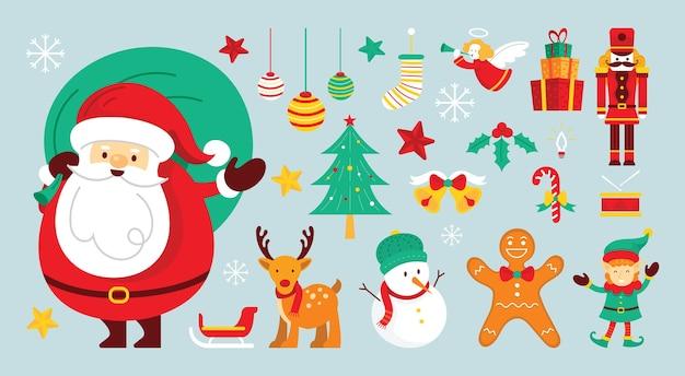 Personajes de papá noel y amigos con adorno navideño