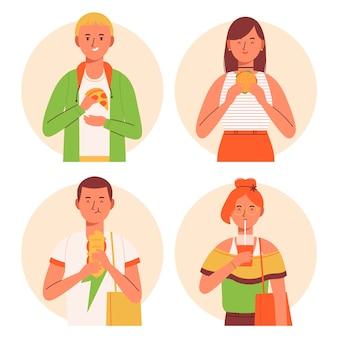 Personajes con paquete de comida