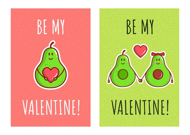 Personajes de pareja de aguacate de dibujos animados de color lindo. tarjetas de felicitación para el día de san valentín. amor de aguacate con corazones.