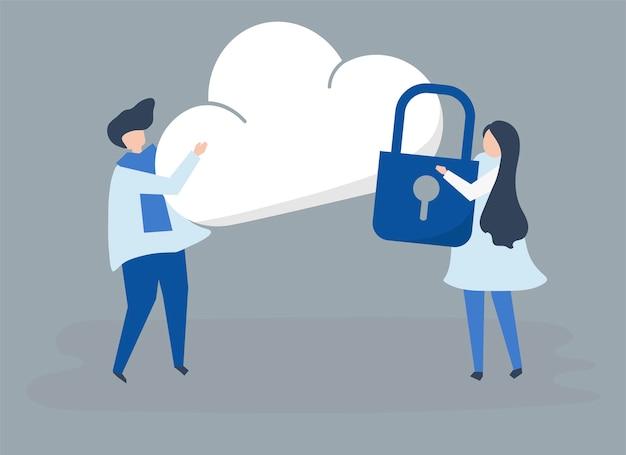 Personajes de una pareja y una ilustración de seguridad en la nube