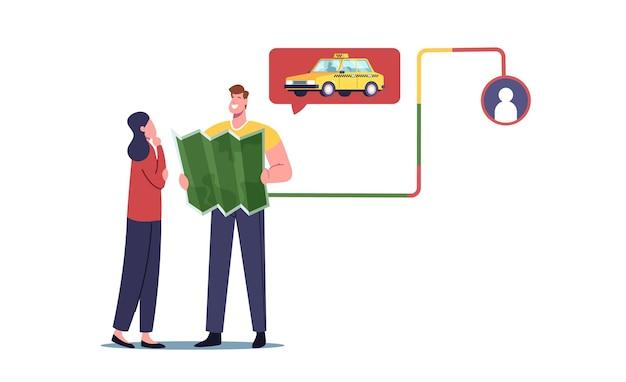 Personajes de pareja joven con mapa esperando taxi coche. servicio de transporte en línea, entrega de pasajeros, destino