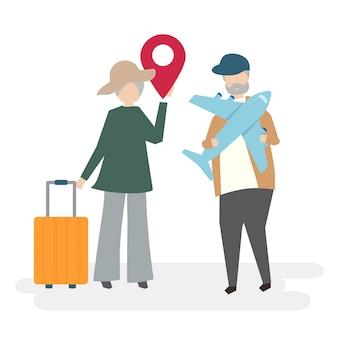 Personajes de pareja senior con concepto de viaje