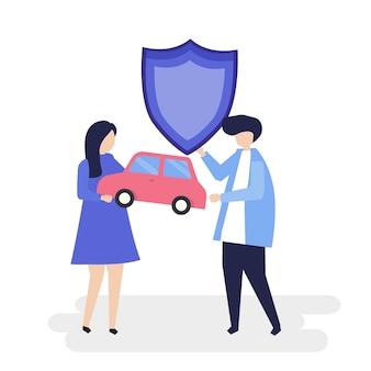 Personajes de una pareja sosteniendo un coche y una ilustración de escudo