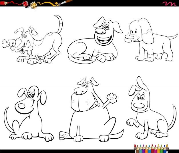 Personajes de perro de dibujos animados para colorear página del libro