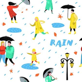 Personajes personas caminando bajo la lluvia de patrones sin fisuras