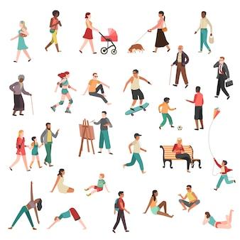 Personajes de personas caminando. persona ciudad niña pareja multitud moderno mujer hombre hablando joven grupo calle bicicleta perro plano