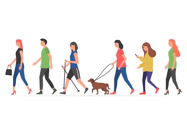 Personajes de personas caminando.
