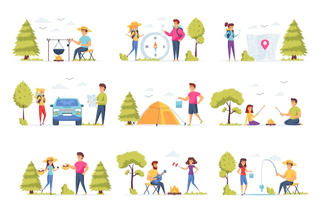Personajes de personas de colección de camping