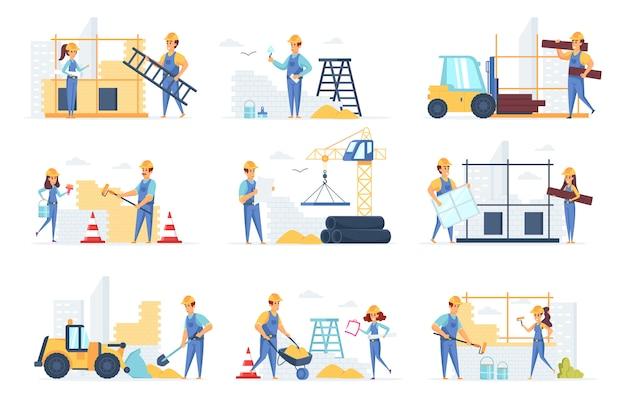 Personajes de personas de colección de constructores.