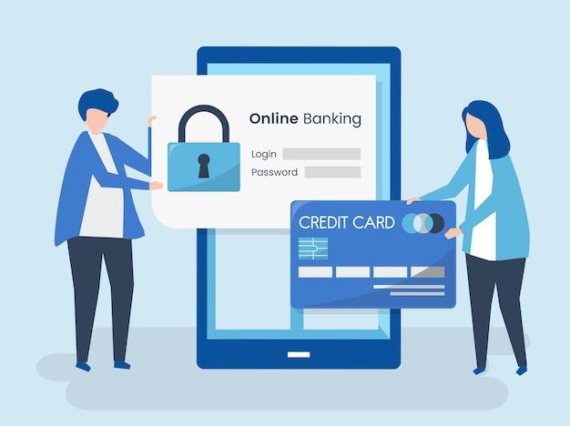 Personajes de personas y concepto de seguridad de banca en línea