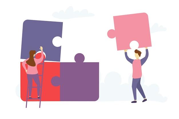 Personajes personas conectando elementos de rompecabezas.