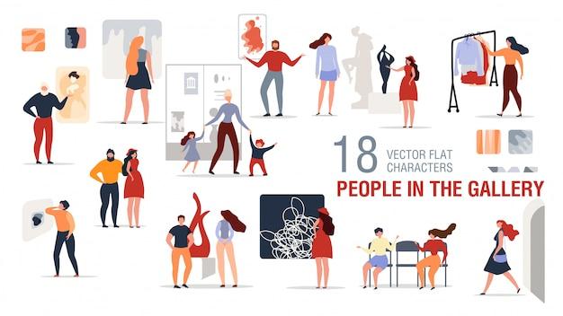 Personajes de personas en el conjunto plano de la galería de arte