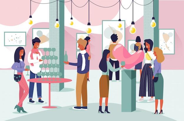 Personajes de personas de dibujos animados visita galería de arte abierta