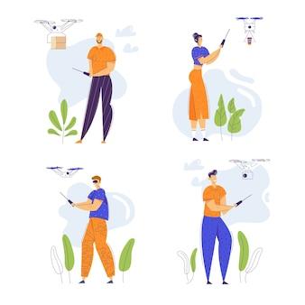 Personajes de personas flying drone con control remoto. servicio de entrega de envío tecnología de vuelo. hombre y mujer controlando drone.